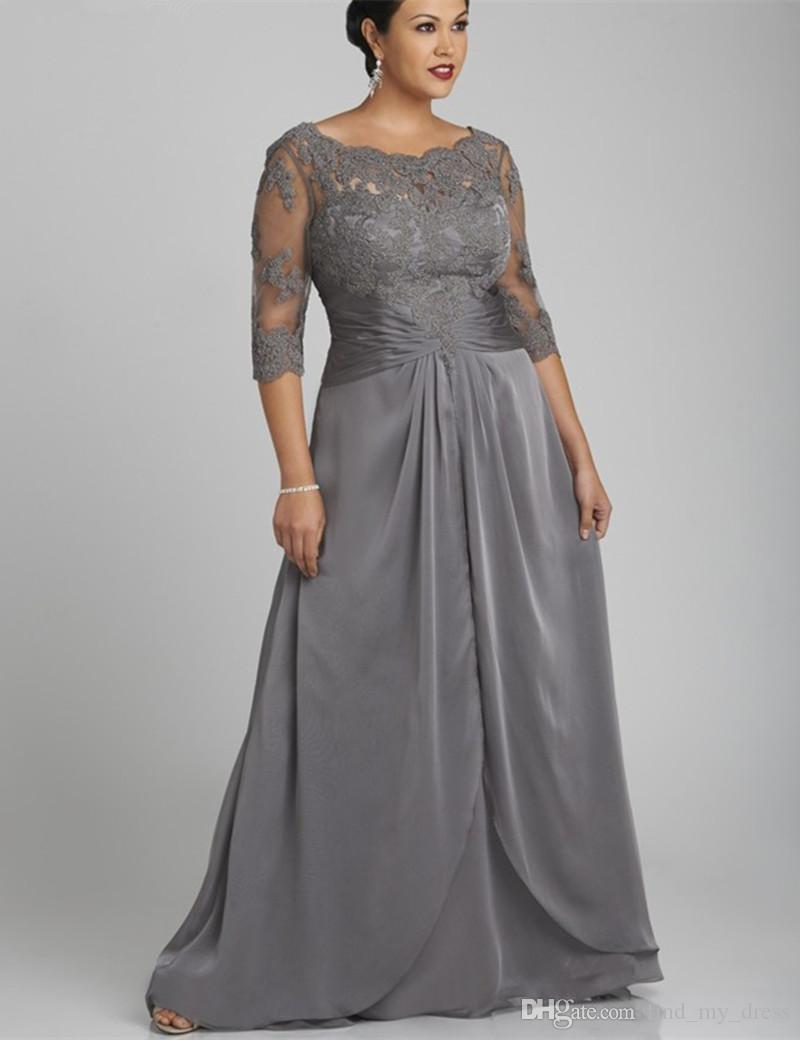 Estilo popular Plus Size Cinza Mãe do vestido da noiva 3/4 Sleeve Scoop Pescoço Rendas Chiffon Comprimento Formal Vestidos Personalizados