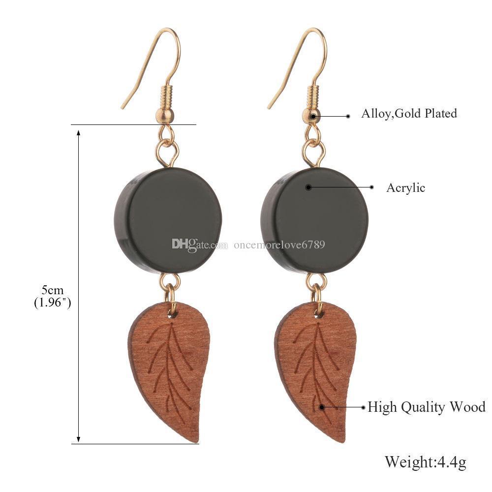 جديد كلاسيكي خشبي أسود جولة الاكريليك ورقة هندسية عالية الجودة الخشب إسقاط أقراط للنساء الملحقات
