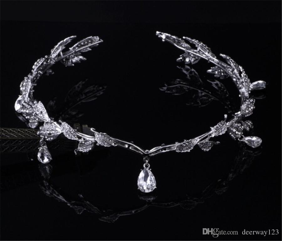 Rhinestone Forehead Bridal Hair Accessories 2019 Water Drop Brown Wedding Hair Jewelry Tiaras Crowns For Brides Bridal Head Pieces In Stock
