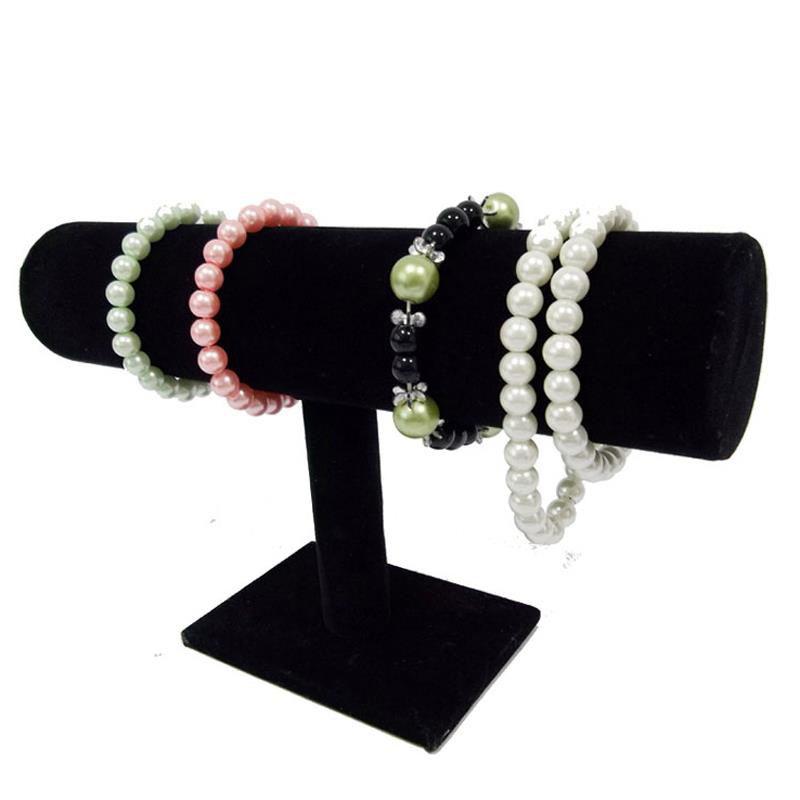 Wholesale Jewelry Display Rack Black Velvet Bangle Necklace bracelet T Bar Holder 23.5*15*7CM
