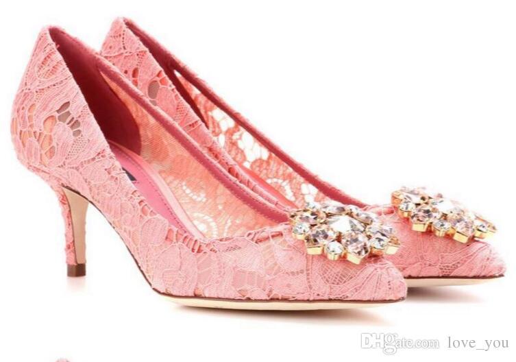 Elegante schöne Vogue Spitze und Schaffell einfache Art 6 cm 8,5 cm High Heels Hochzeit Brautschuhe