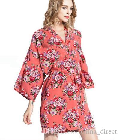 2016 frauen baumwolle floral Robe Damen Pyjama Dessous Nachtwäsche Kimono Badekleid pjs Nachthemd # 4003