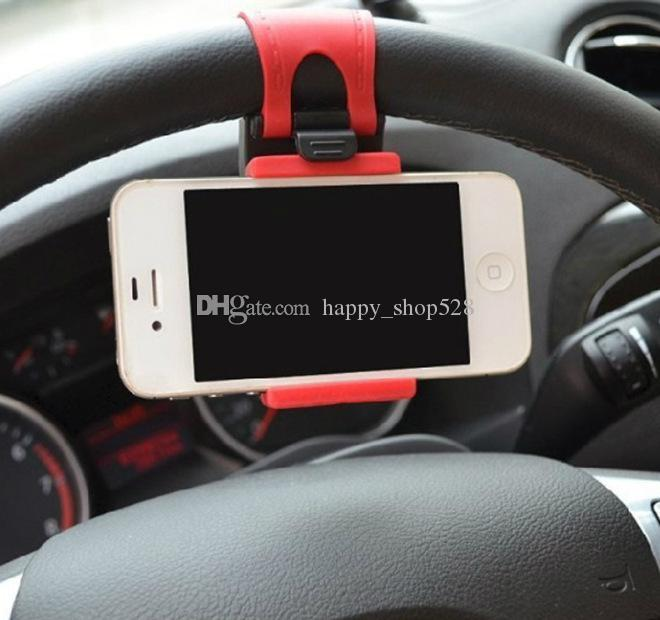 Universal Car Steering Wheel Cradle Holder SMART Clip Car Bike Mount for Mobile iphone samsung Cell Phone GPS Phone Holder
