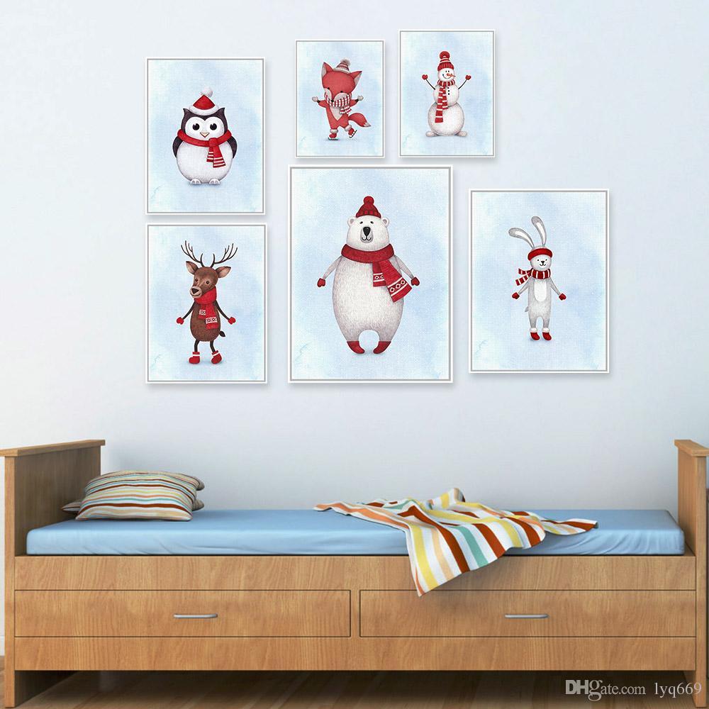 Satın Al Suluboya Noel Noel Baba Kawaii Hayvanlar Geyik Posteri