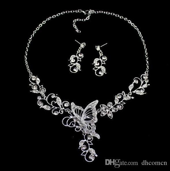 Свадебный Цветок Бабочка Бриллиантовое Ожерелье Серьги Мотаться Набор Серебряный Цвет Листьев Выдалбливают Бабочка Ожерелье Серьги