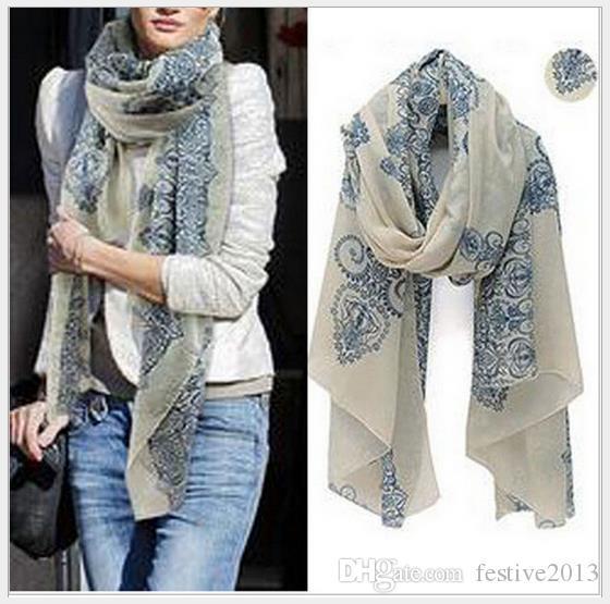 New Fashion 2016 écharpes pas cher de haute qualité bleu et blanc porcelaine style section mince la soie soie femmes écharpe châle
