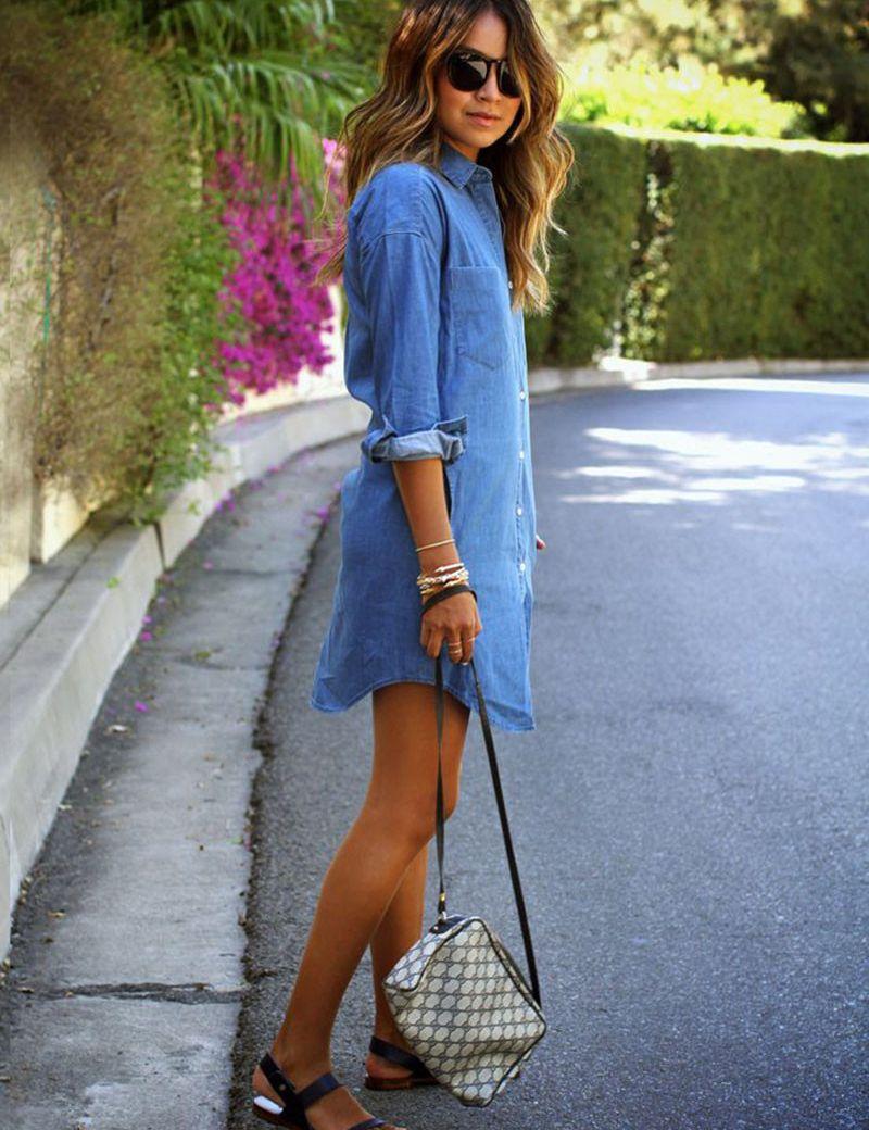 Новые Женщины Старинные Случайные Свободные Рубашка Платье Стенд Воротник Синие Джинсы Джинсовая Рубашка Платье Дамы Пояса Мини-Платье