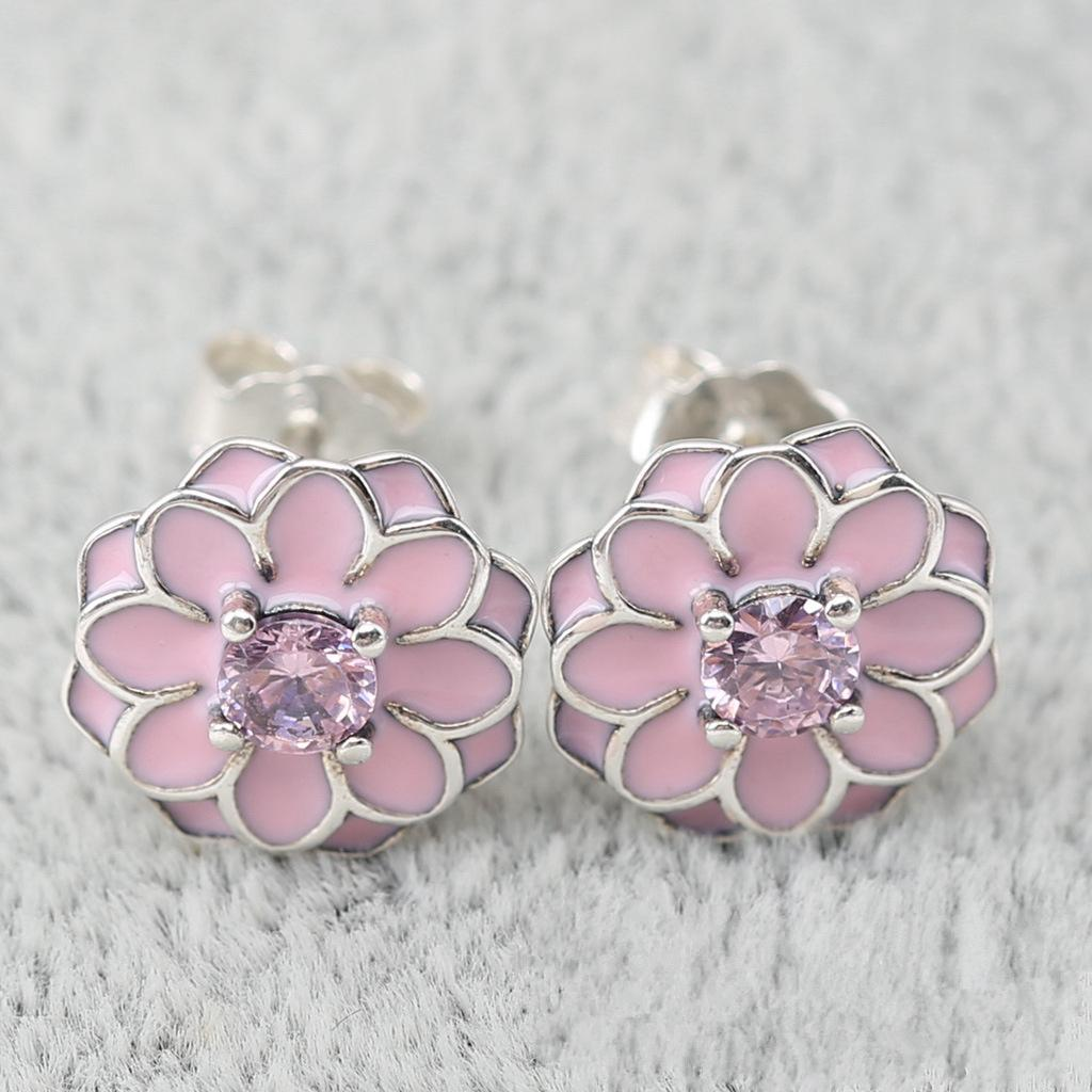 2018 Pink Sun Flower Charm Earrings Authentic 925 Sterling Silver