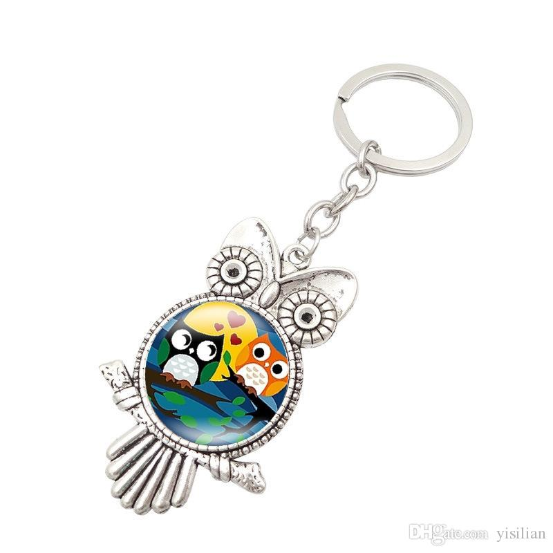Retro Owl Time Gemstone Metal Keychain Hot Keychain R149 Arts and Crafts