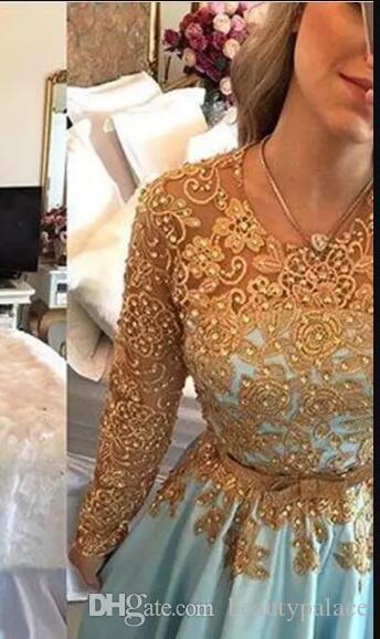 魅力的なライトブルーゴールドレースの夜のページェントのドレス長袖ビーズベルト中東カントリーウエディングドレスパーソンドレス