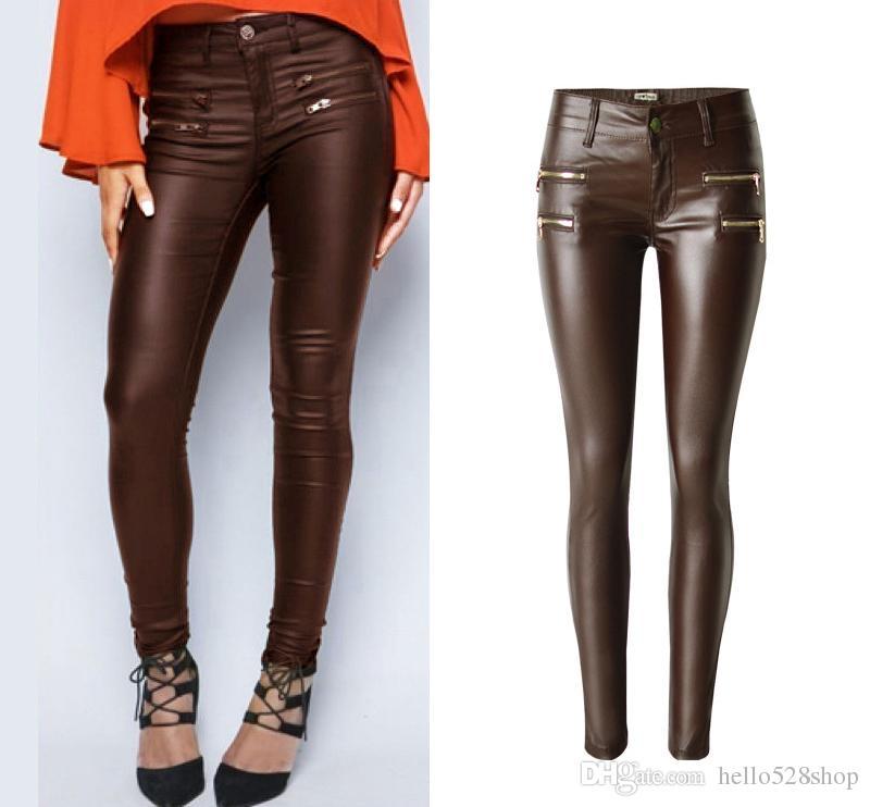 670489825e2 Women s Brown PU Leather Low Waist Elastic Pants Double Zipper ...