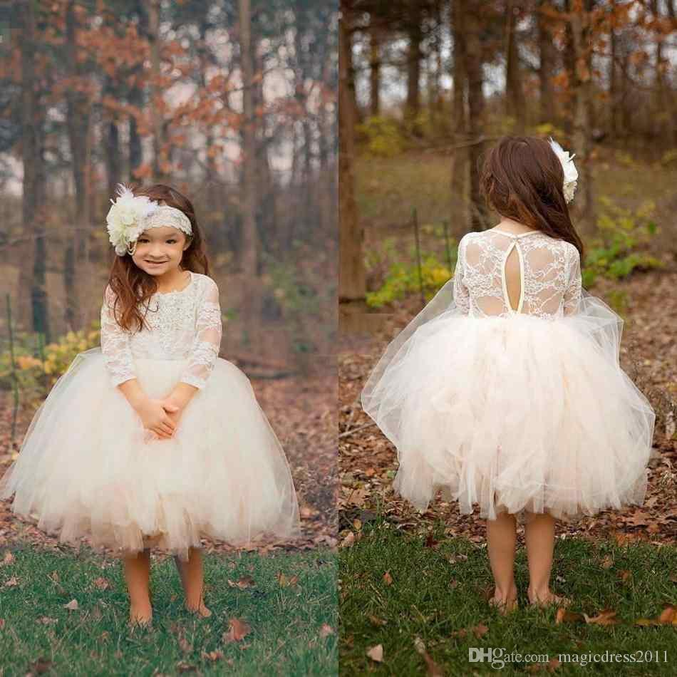 2019 Cute Boho Cheap Ivory Knee Length Lace Puffy Flower Girls Dresses Sheer Long Sleeve Tulle Tutu Ball Gown Child Pageant