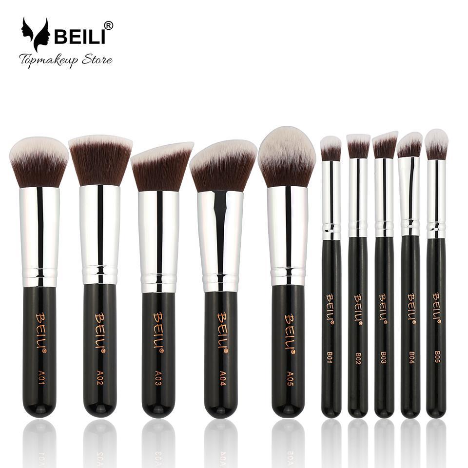 Beili 10 Pieces Kabuki Face Foundation Powder Blusher Eye Concealer Shadow  Synthetic Vegan Makeup Brushes Set cosmetic