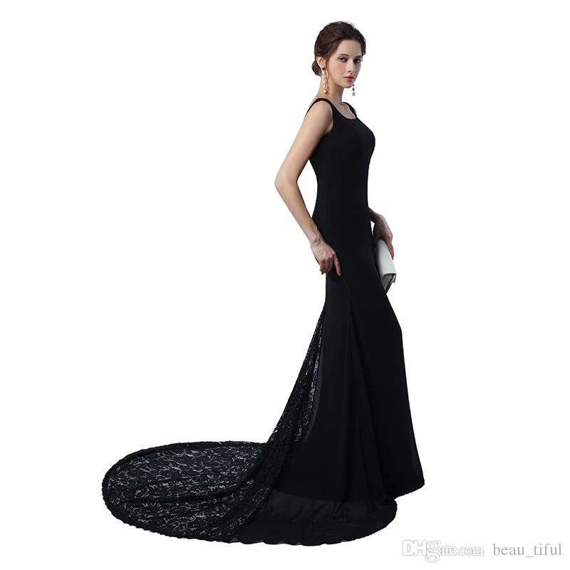 High Quality Elegant Scoop Mermaid Long Evening Dresses 2020 Satin With Lace Floor-Length Prom Party Gowns Hot Sale