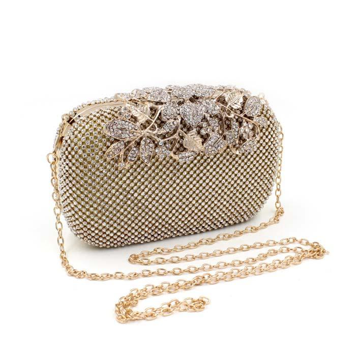 2016 New Fashion Leaves Diamond Evening Clutch Women Evening Bags Black/Silver/Gold With Both Chians Femal Messenger Bags