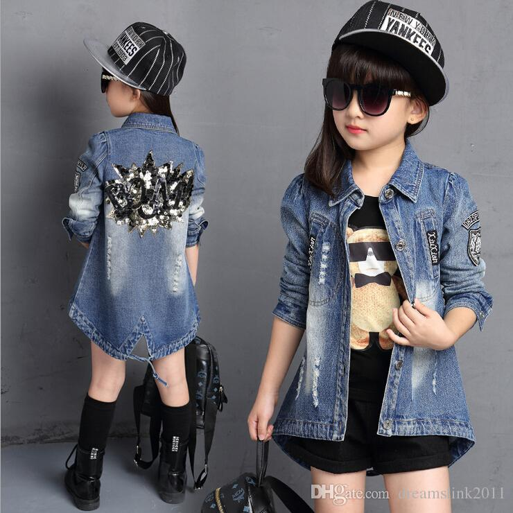 2017 New Style Denim Little Girls Jacket Jeans Back Shinny Flower
