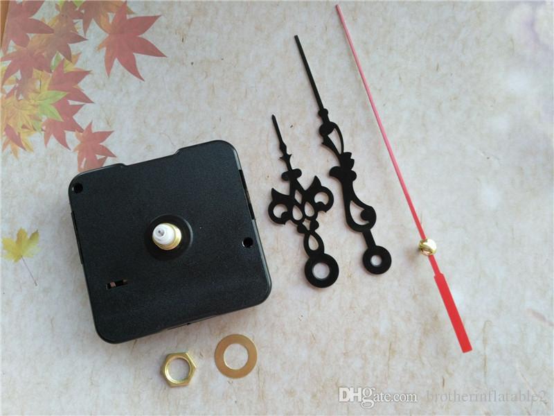 Großhandel 100 stücke 12mm Welle Sweep Standard Silent Quarz Uhr Mechanismus mit schwarzen Händen rotes zweites DIY Reparatur Zubehör