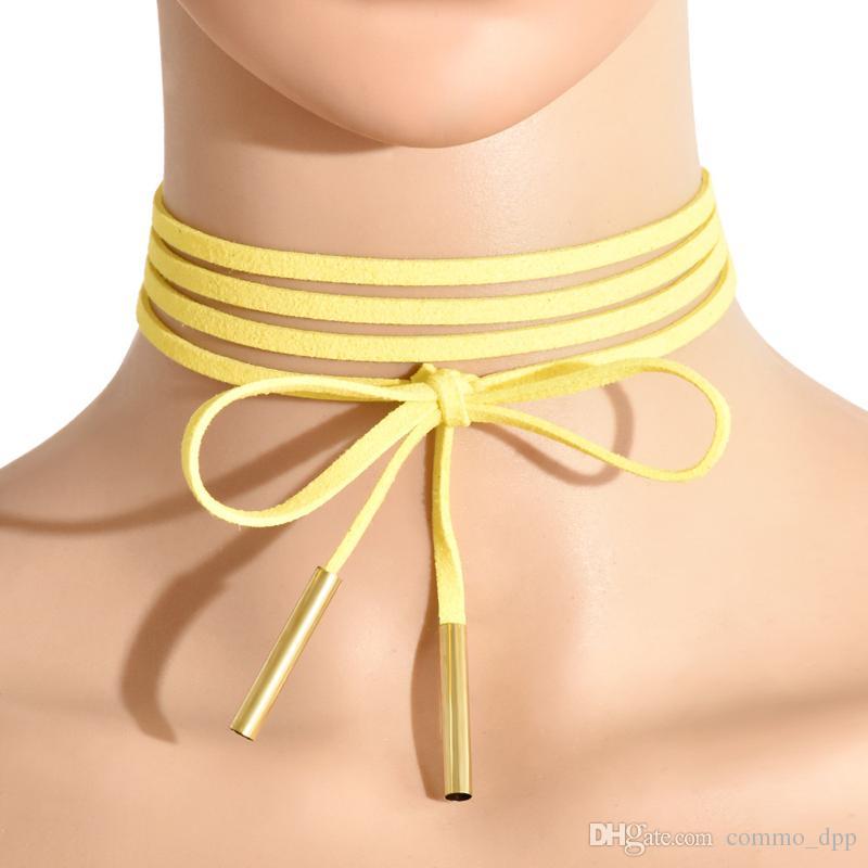 11 farben minimalistischen samt geschichteten halsreifen lange fliege neck tops verstellbare halskette für frauen damen modeschmuck zubehör