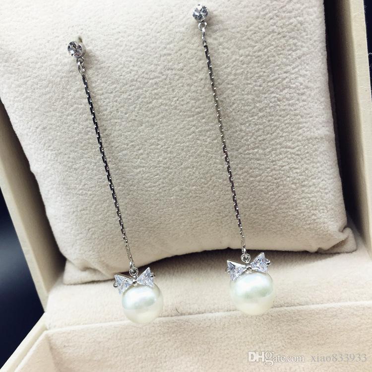 Han édition douce bowknot perle délicate longue hao pierre vêtements joker boucles d'oreilles