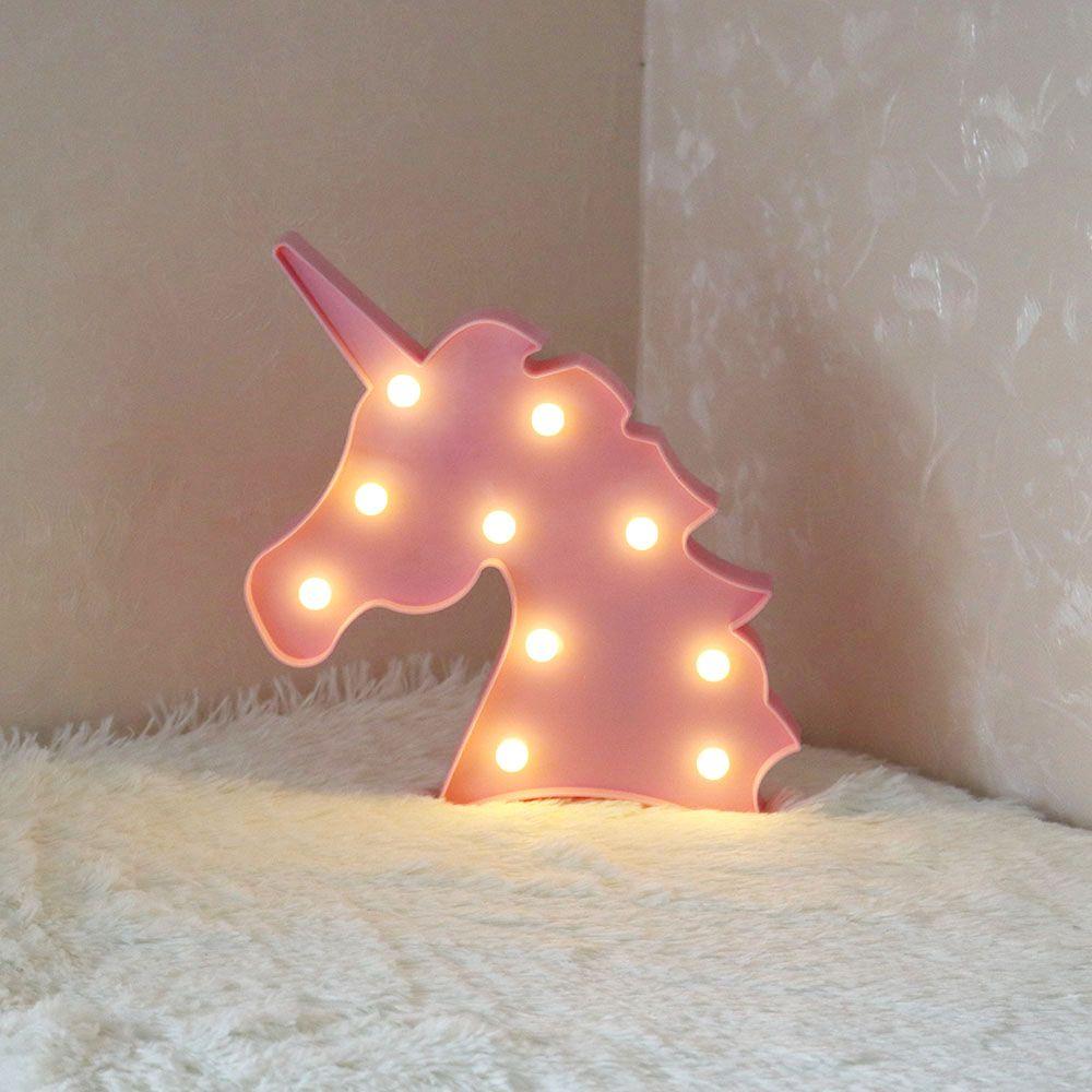 Netter Einhorn-Kopf führte Nachtlicht-Tier-Festzelt-Lampen auf Wand für Kinderparty-Schlafzimmer-Weihnachtsdekor-Kindergeschenke