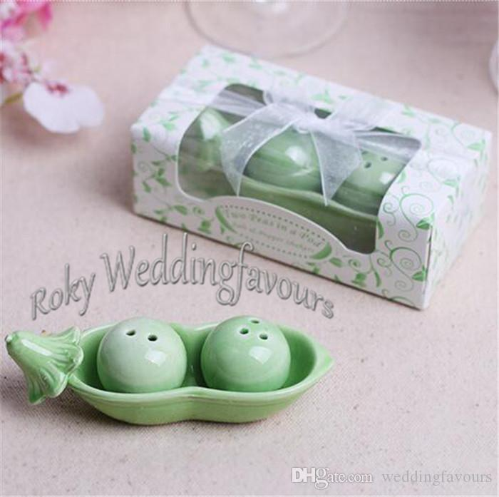 2Peas in a Pod Ceramic Salt & Pepper Shakers in Gift Box Wedding Favors Bridal Shower Party Table Decor Supplies