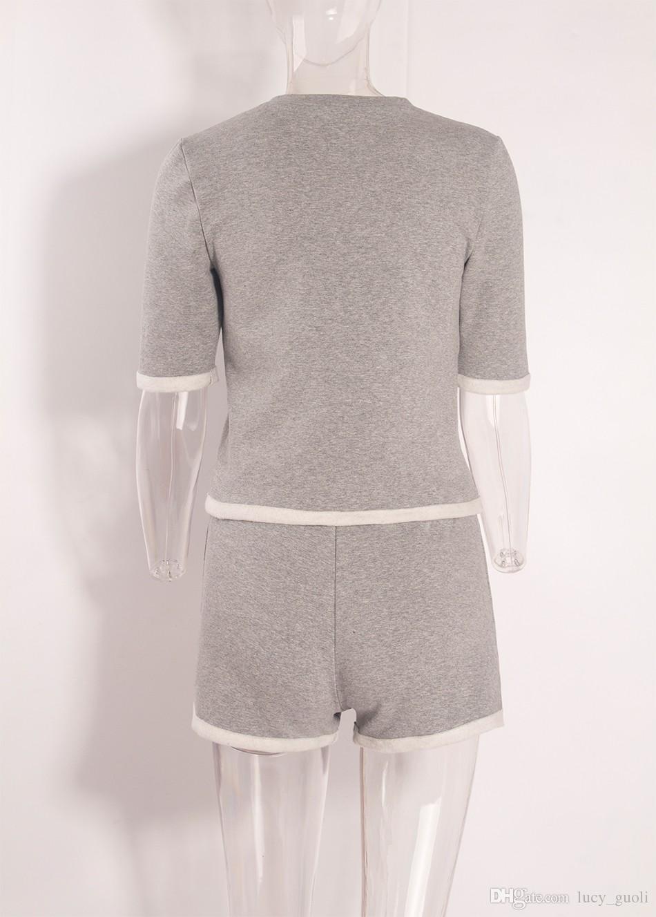 2016 casual Zwei Stücke Outfits Kurzarm Bodycon Sexy Grau Short Jumpsuit Frauen Body Suit Crop Top und Kurze Hosen Playsuits Aktive Frauen