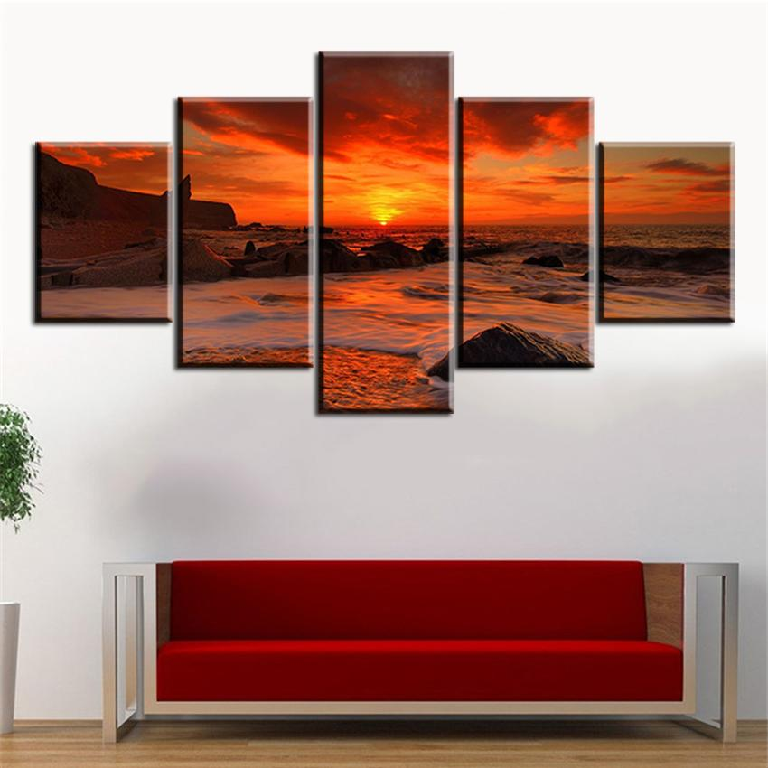 2018 one amazing fiery sunset no frame oil painting canvas prints