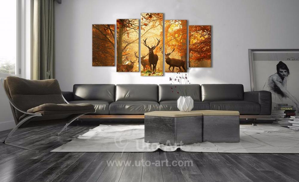 Modern Digital Picture Print On Canvas Animal Deer Wall Frame Panels The Photo As 5 Parts