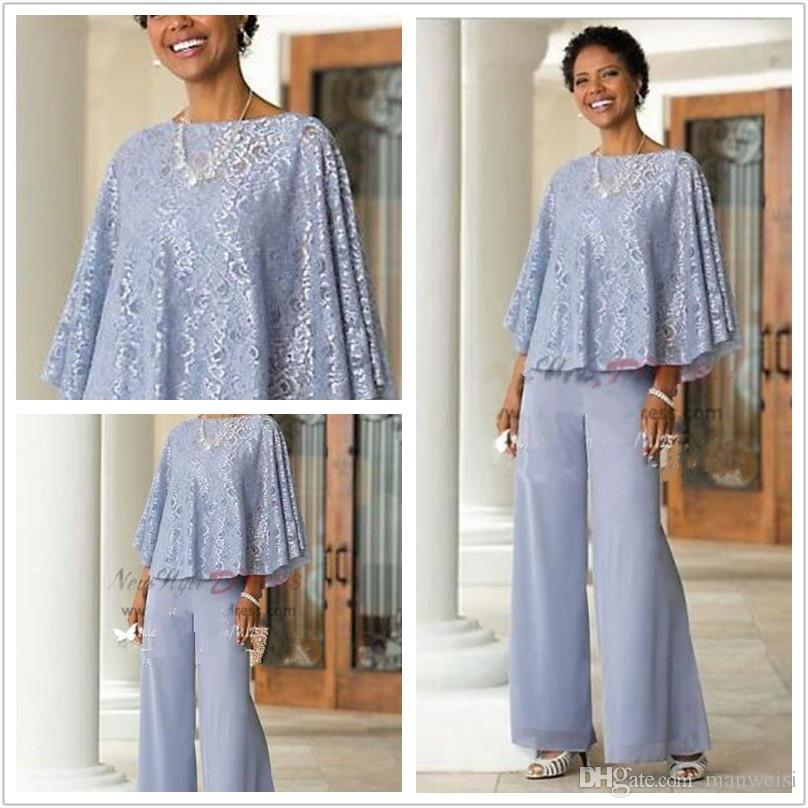 2016 Cheap Mother Of The Bride Pants Suit Chiffon Lace Beach ...