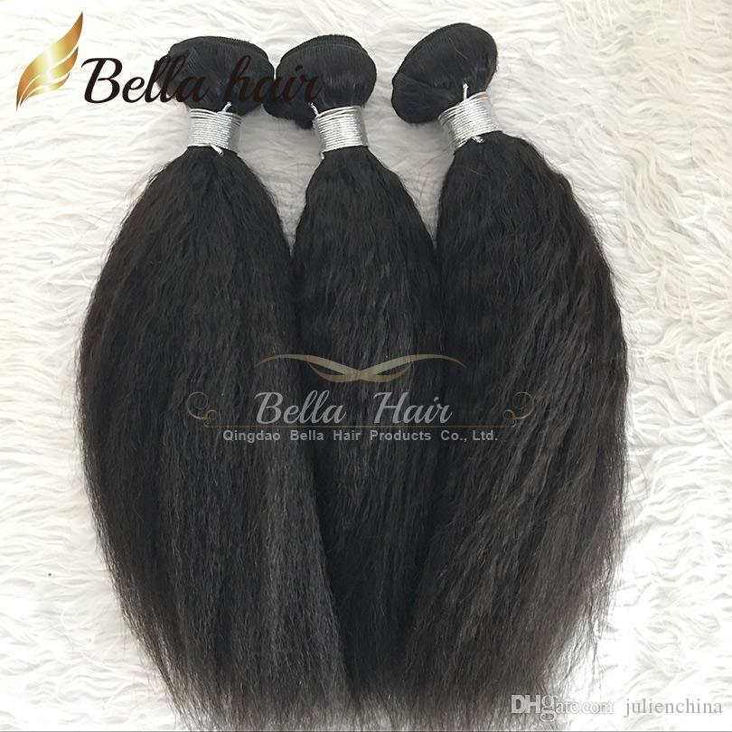 "Bella Hair® Brazilian Virgin Hair Kinky Straight Hair Extensions Natural Black Color Hair Weave Weft 8""-30"""