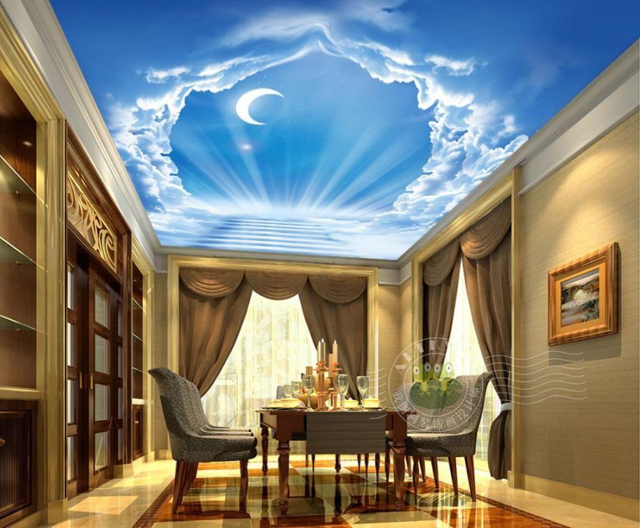 Photo Non-woven Wallpaper 3d Wall Blue sky moon ladder clouds Sky Ceiling Wallpaper