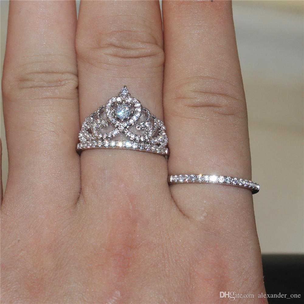 Senhora de 925 prata esterlina Luxuoso Coroa Simulado de Noivado de Diamantes Jóias Anéis de Banda De Casamento Conjuntos de dedo para As Mulheres Sz 5-10