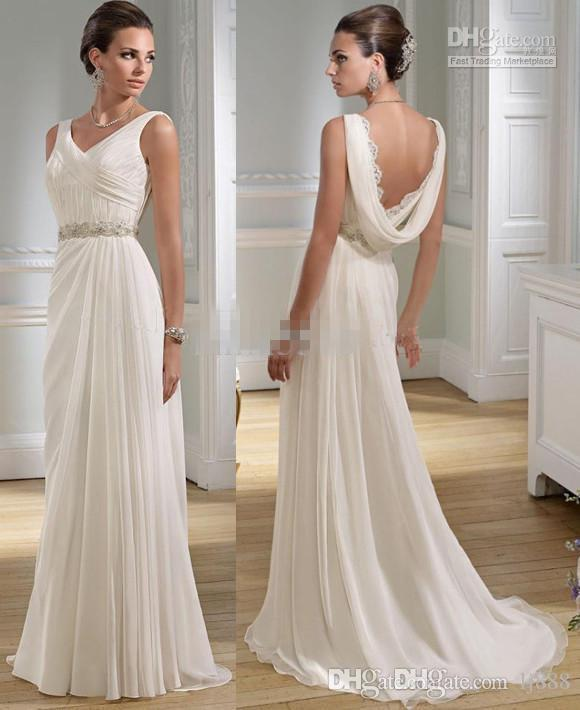 Goddess Wedding Gown: Graceful A Line V Neck Greek Lace Floor Length Chiffon
