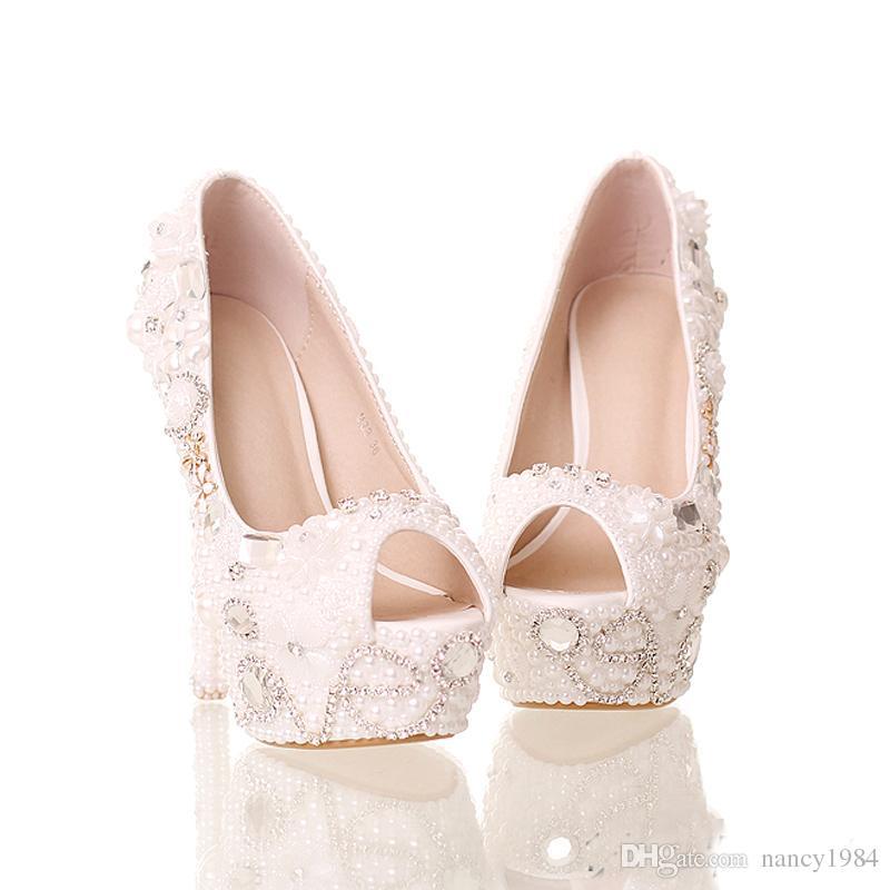 2019 Été Peep Toe Blanc Perle Chaussures De Mariage De Mariée 14 cm Talons Plate-Forme Cristal Mariée Chaussures À La Main Partie De Bal Pompes