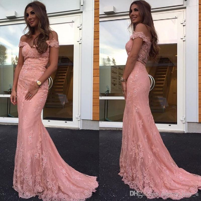 94bc10615c Evening Gowns Elegant 2017 Blush Pink Lace Evening Dresses Off The Shoulder  Fitted Long Formal Prom Party Gowns Arabic Dress Sweep Train Sale Evening  ...