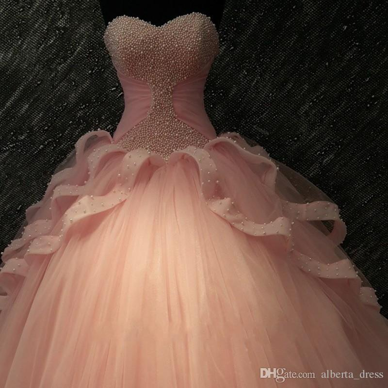 Imagem real Coral Quinceanera Vestidos Vestidos de 15 Anos Pérolas Tule Lace Sweet 16 Vestido Barato Vestidos de Bola de Prom 2019 Vestidos