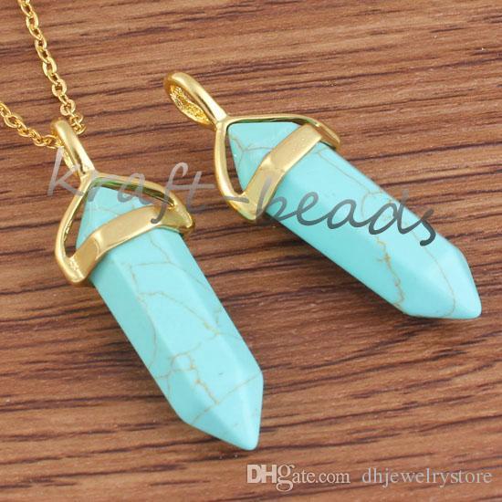 Wholesale High Quality Gold Plated Various Quartz Stone Hexagon Prism Shape Pendant Statement Necklace Charm Jewelry