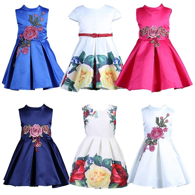 Free Shipping European Style Fashion Fancy Design Tulle: 2019 Samgami Baby Girl Dress Floral Pattern A Line