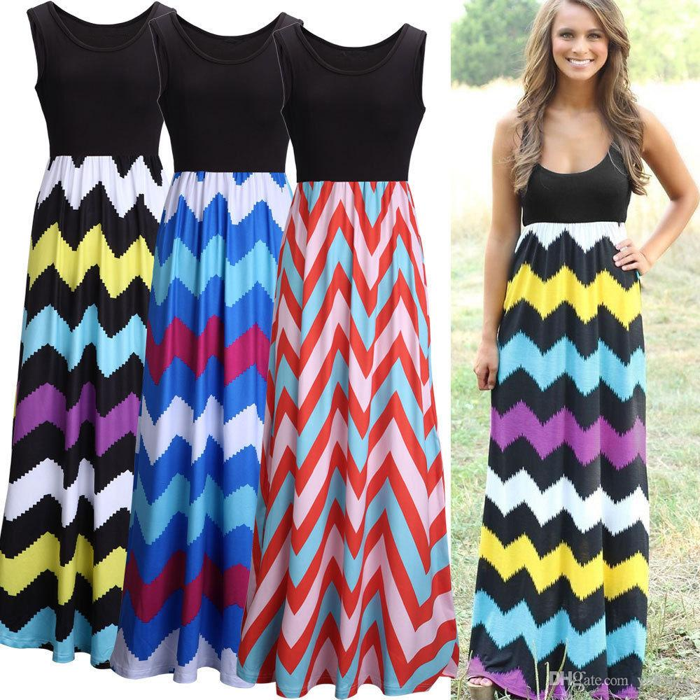 Bohemian Dress Color Wave Stripe Dress Stripe Sleeveless Maxi Dresses Sexy Elegant Long Dress