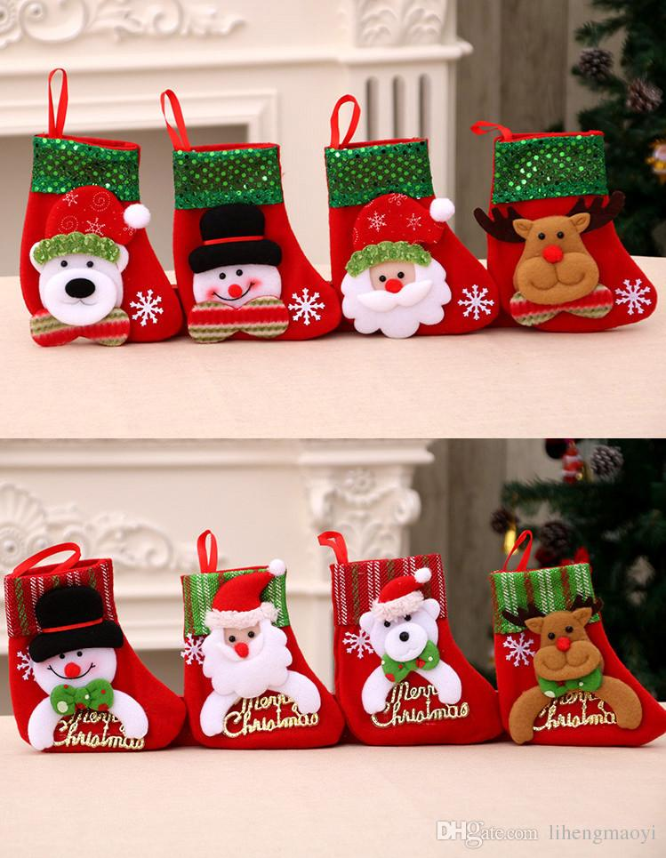 christmas stocking sequins small decoration candy bag gift bags christmas tree ornaments kids xmas socks creative santa claus sock mix christmas ornament - Small Christmas Stocking Decorations