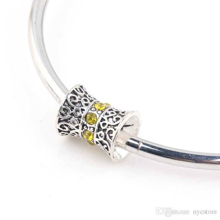 Por DHL 120 UNIDS Granos de Plata Al Por Mayor S925 Ronda Zircon Crystal Granos Europeos de los encantos para Pandora Pulseras Joyería DIY
