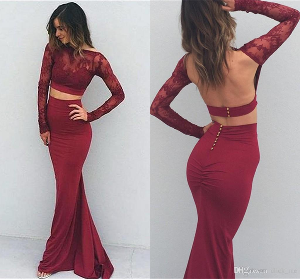 Burgundy Sexy Two Pieces Dresses Evening Wear Backless Sheer Neck Long  Sleeves Prom Dress Mermaid Pleats Button Back Cheap Party Dress