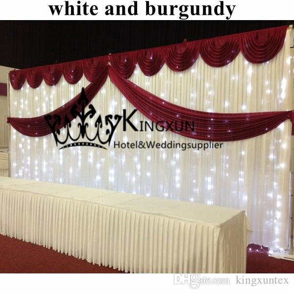 White And Burgundy Swag Wedding Backdrop With Led String