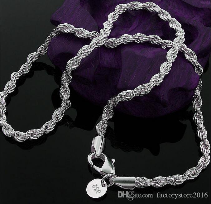Nueva Llegada 925 Collar de Plata Esterlina Cadenas 2 MM 16-30 pulgadas Pretty Cute Fashion Charm Cuerda Collar de Cadena de Joyería de Fábrica al por mayor