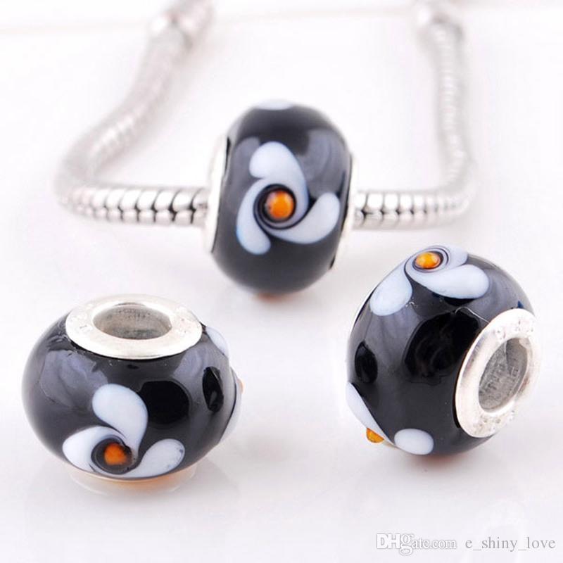 mélangé perles de verre de Murano noir pour la fabrication de bijoux en vrac au chalumeau charme bricolage noyau en argent perles pour bracelet en gros en vrac faible prix