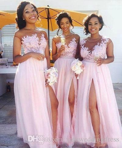 2017 Light Pink Long Bridesmaid Dresses Jewel Sheer Neck Short Capped Sleeves Evening Gowns Chiffon Side Split With Applique Formal Dress