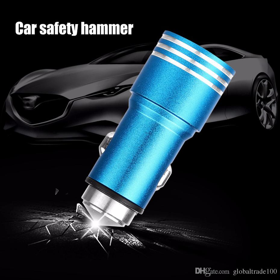 Fast Charge 5V 2.1A Dual USB Car Charger Aluminium Alloy Car-charger Emergency Safety Hammer For for iPhone Samsung Xiaomi HTC Mobile Phone