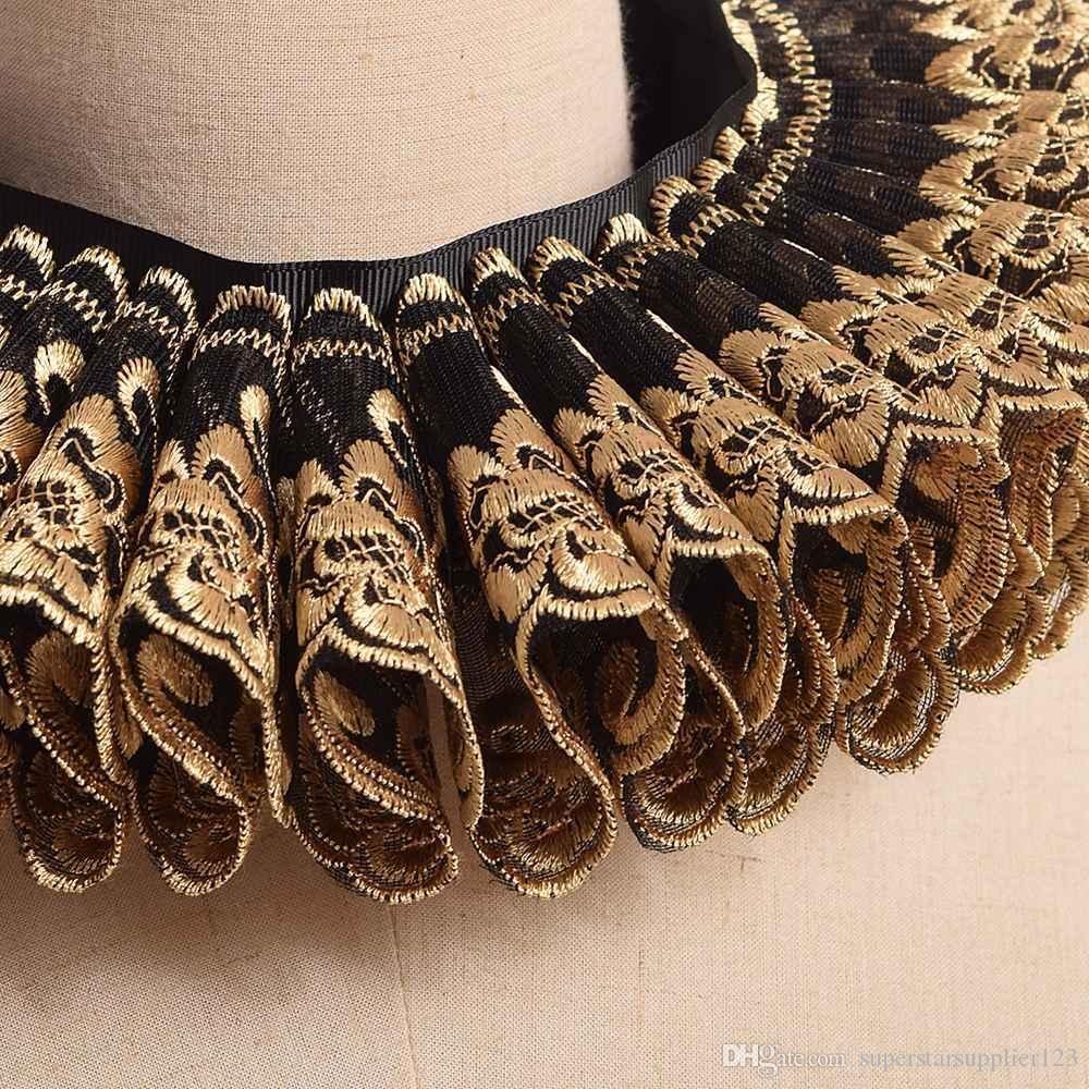 1 unid Vintage Renacimiento cuello Ruff oro negro Ruffles cuello isabelino gótico Cosplay cuello cuello corbata Cosplay accesorio