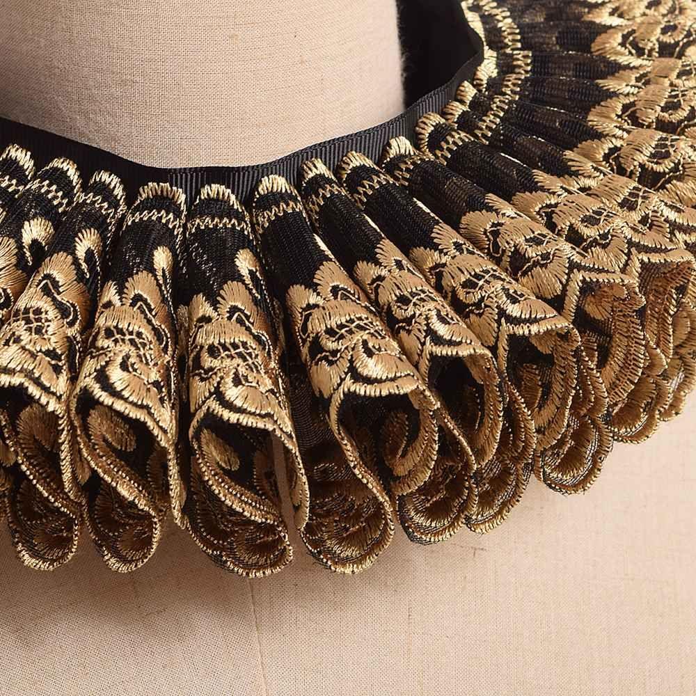 Vintage Renaissance Neck Ruff Gold Black Ruffles Collar elisabettiano Gothic Cosplay Neck Neck Neckwear Accessorio Cosplay