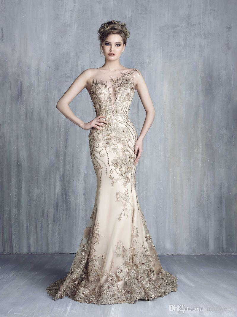 Tony Chaaya 2019 Evening Dresses With Detachable Train Champagne Beads Mermaid Prom Gowns Lace Applique Luxury Party Dress robes de soirée